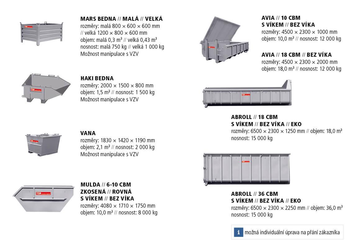 Kontejnery TSR k zapůjčení